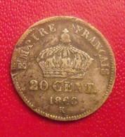 France 20 Centimes 1866 K. Empire Français. Napoleon III Empereur. Argent Silver - E. 20 Centimes