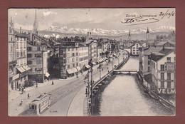 ZÜRICH - Limmatquai - Tram - Conditorei - 1906 - Langstempel BRUGG - ZH Zürich