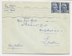 GANDON 4FR BLEU PAIRE LETTRE AVION PARIS 108 5 JAN 1946 POUR LONDRES - 1945-54 Marianna Di Gandon