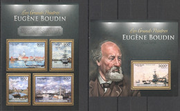 CA660 2013 CENTRAL AFRICA CENTRAFRICAINE ART THE GREAT PAINTERS EUGENE BOUDIN KB+BL MNH - Other