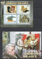 CA686 2013 CENTRAL AFRICA CENTRAFRICAINE ART PAINTINGS SCULPTURES GEORGES BRAQUE KB+BL MNH - Other