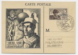 ALGERIE SURTAXE 2FR JOURNEE DU TIMBRE SIDI BEL ABBES 1945 CARTE SIDI BEL ABBES BERCEAU LEGION ETRANGERE - Storia Postale
