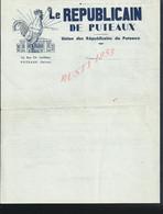 POLITIQUE LETTRE ILLUSTRÉE COQ RECIT LE REPUBLICAIN DE PUTEAUX UNION DES RÉPUBLICAINS À PUTEAUX 12 RUE CH. LORILLEUX : - Manuscripts