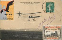 Aérodrome De La Champagne - P. De Lesseps Sur Biplan Sommer  + Vignettes 1909 Et 1910 - ....-1914: Precursori