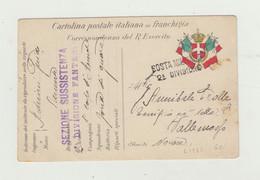 FRANCHIGIA POSTA MILITARE 2A DIVISIONE - 1915 TIMBRO SEZIONE SUSSISTENZA 2 DIVISONE FANTERIA - Franchigia