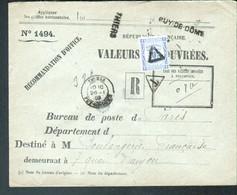 TAXE 10C SEUL ENVELOPPE VALEURS RECOUVREES, Thiers, Puy De Dome - Postage Due Covers