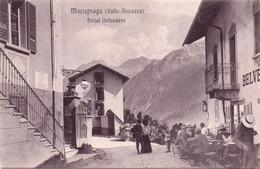 Seltene ALTE  AK   MACUGNAGA  / Piemont  - Teilansicht Mit Hotel Belvedere - 1905 Ca. Gedruckt - Altre Città