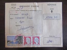 France - Chèques Postaux CH 46 - Timbres YT N°1312 Et 1263 (paire) Sur Demande D'avoir - Cachet Rouge Lyon 1963 - Storia Postale