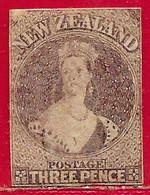 Nouvelle-Zélande N°19 3p Brun-lilas (filigrane Grande étoile) 1863 O - Usati