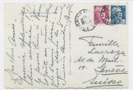 GANDON 5FR BLEU + 3F LILAS CARTE BONNEVILLE 23.6.1948 HTE SAVOIE POUR GENEVE TARIF FRONTALIER - 1945-54 Marianne (Gandon)