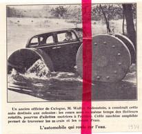 Orig. Knipsel Coupure Tijdschrift Magazine - Cologne Köln - Automobile Qui Roule Sur L'eau De W. Bodenstein - 1934 - Zonder Classificatie