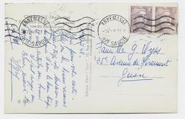 GANDON 4FR VIOLET PAIRE CARTE ANNEMASSE 3.VIII.1948 HTE SAVOIE POUR GENEVE TARIF FRONTALIER - 1945-54 Marianne (Gandon)