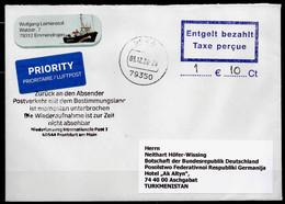"Corona Covid 19 Postal Service Interruption ""Zurück An Den Absender... "" Reply Coupon Paid Cover GERMANYto TURKMENISTAN - Turkménistan"