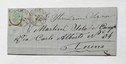 Corrispondenza Da Firenze Per Torino 04/12/1865 Affrancata Con 20 Cent. Sovrastampa I Tipo - Marcofilía