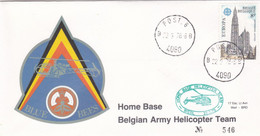 Enveloppe 1891 Post 6 Home Base Belgian Army Helicopter Team Blue Bees - Cartas