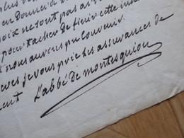 Abbé De MONTESQUIOU (1756-1832) PRESIDENT Assemblée. ACADEMIE Française. AUTOGRAPHE - Handtekening