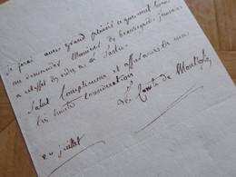 COMTE De MONTLOSIER (1755-1838) Député CLERMONT FERRAND. Pair France. Académie Puy De Dôme. AUTOGRAPHE - Autographs