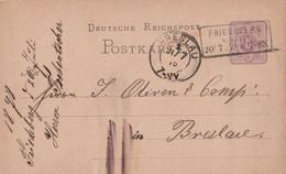 Deutsches Reich Ganzsache Mit Tagesstempel Fiedeberg A Queis 1878 Lk Löwenberg RB Liegnitz Nach Breslau Nachverwendet AD - Briefe U. Dokumente