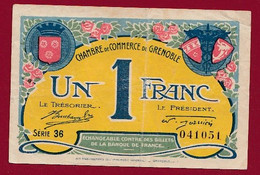 1 Franc  Chambres De Commerce De Grenoble Dans L 'état (243) - Cámara De Comercio