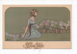 """Belle  Dame  Avec  Beaucoup  Des  Plantes    """"   Bonne  Fete """" - Zandrino"""