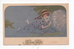 """Belle  Dame  Avec Parasol    """"   Bonne  Fete """" - Zandrino"""