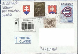 SLOVAKIA REGISTERED POSTAL USED AIRMAIL COVER TO PAKISTAN - Other