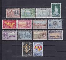 TONGA 1953, SG# 101 - 114, CV £70, Emblem, Architecture, Sailboat, MH - Tonga (...-1970)