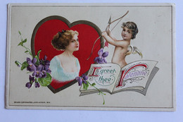 I Greet Thee Valentine - Gaufrée - 1913 - Angels