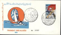 Enveloppe Transat Des Alizés 1984 CAD Casablanca Ppal 1er Premier Jour D'émission YT 976A 1d Polychrome Surchargé - Marokko (1956-...)
