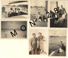 BRETAGNE-PLOUMANAC'H PERROS GUIREC -6 PHOTOS DE FAMILLE DANS LES ANNEES 40 -BATEAUX- DIM 9x6 Cms - Places