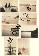 BRETAGNE-PLOUMANAC'H PERROS GUIREC -8 PHOTOS DE FAMILLE DANS LES ANNEES 40 -bateaux,vivier Homard- DIM 9x6 Cms - Places