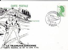 25 – MOUTHE – SKI DE FOND – TRANSJURASSIENNE  - Carte Entier Postal Repiqué (2,00 F Liberté Vert) - Mouthe