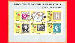 ITALIA - Usato - 1985 - Esposizione Internazionale Di Filatelia, A Roma - Francobolli Dei 5 Continenti - BF - Hojas Bloque