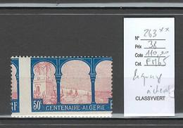France - Yvert 263** - Centenaire Algérie - Piquage à Cheval - Varieties: 1921-30 Mint/hinged