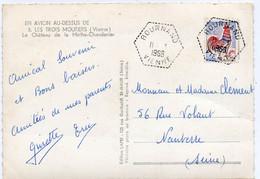 Vienne Bournand Type F7 Du 11/03/1966 Sur N° 1331 Et  CP Les Trois Moutiers Chateau De La Mothe Chandenier - Matasellos Manuales