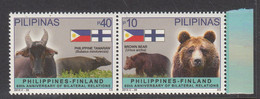 2015 Philippines Links With Finland Bear Flags Complete Pair MNH - Filippijnen