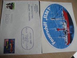Feuerschiff ELBE1 Ship Cover CUXHAVEN 1981 Lightship Bateau Lege Lighthouse Phare GERMANY Poster Stamp Vignette Adhesive - Phares