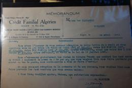 Crédit Famiilial Algérien De 1925 - Cartas