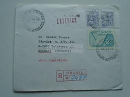 ZA346.7 BRAZIL  BRASIL   Registered Airmail Cover - Cancel  1976  Ag. Vila Militar -Rio De Janeiro     Sent To Hungary - Cartas