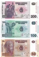 ETATS D'AFRIQUE CENTRALE - REPUBLIQUE DEMOCRATIQUE DU CONGO 2007  50-100-00 Franc - P.97a,P.98a,P.99a  Neuf UNC - Central African States