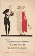 Champagne GIESLER - Carton Illustré 3 Volets Avec La Liste Des Restaurants Parisiens Qui Servent Ce Champagne. - Reclame
