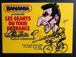 Raphael Geminiani- SIGNEE - BANANIA - Caricature Pellos 1981 - Carte / Card - Cyclist - Cyclisme - Ciclismo -wielrennen - Ciclismo