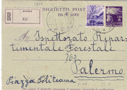 1948 Biglietto Postale Da 4 Lire In Raccomandata Da Bivona Per Palermo - Entero Postal