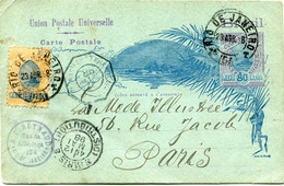 BRESIL ENTIER POSTAL AVEC AFFRANCHISSEMENT COMPLEMENTAIRE DEPART RIO DE JANEIRO 23 ABR 98 POUR LA FRANCE - Briefe U. Dokumente