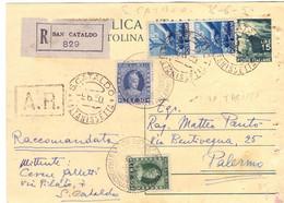 1950 Cartolina Postale Da 15 L. In Raccom Con Aggiunta Di Marche Da S.Cataldo X PA - Entero Postal