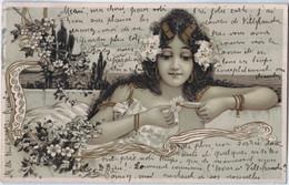 Art Nouveau - Superbe Cartejeune Fille - Genre KIRCHNER - Fleurs - Circulé 1901 - Before 1900
