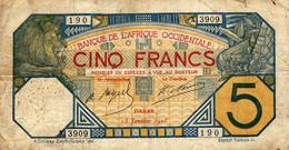 5 FRANCS  -  B.A.O.  DAKAR  13 Janvier 1928 - Altri