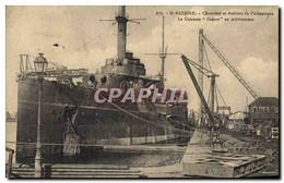 CPA Bateau De Guerre St Nazaire Chantiers Et Ateliers De L'Atlantique Le Cuirasse Diderot En Achevem - Guerra