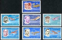 Roumanie Romania Rumanien 1978 Wright Flyer I, Blériot XI, FOKKER F-VII, Tupolev Ant-25, Lilienthal, Vlaicu, Vuia - Aerei