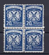 1930s DRAVSKA BANOVINA,SLOVENIA,YUGOSLAVIA,20 PARA, BLOCK OF 4 REVENUE STAMPS,MINT - Eslovenia